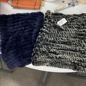 2 Saks Fifth Avenue rabbit fur scarves